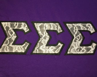 White Lace / Black Background MADE TO ORDER Greek Letters Sorority Apparel hoodie shirt t shirt crew