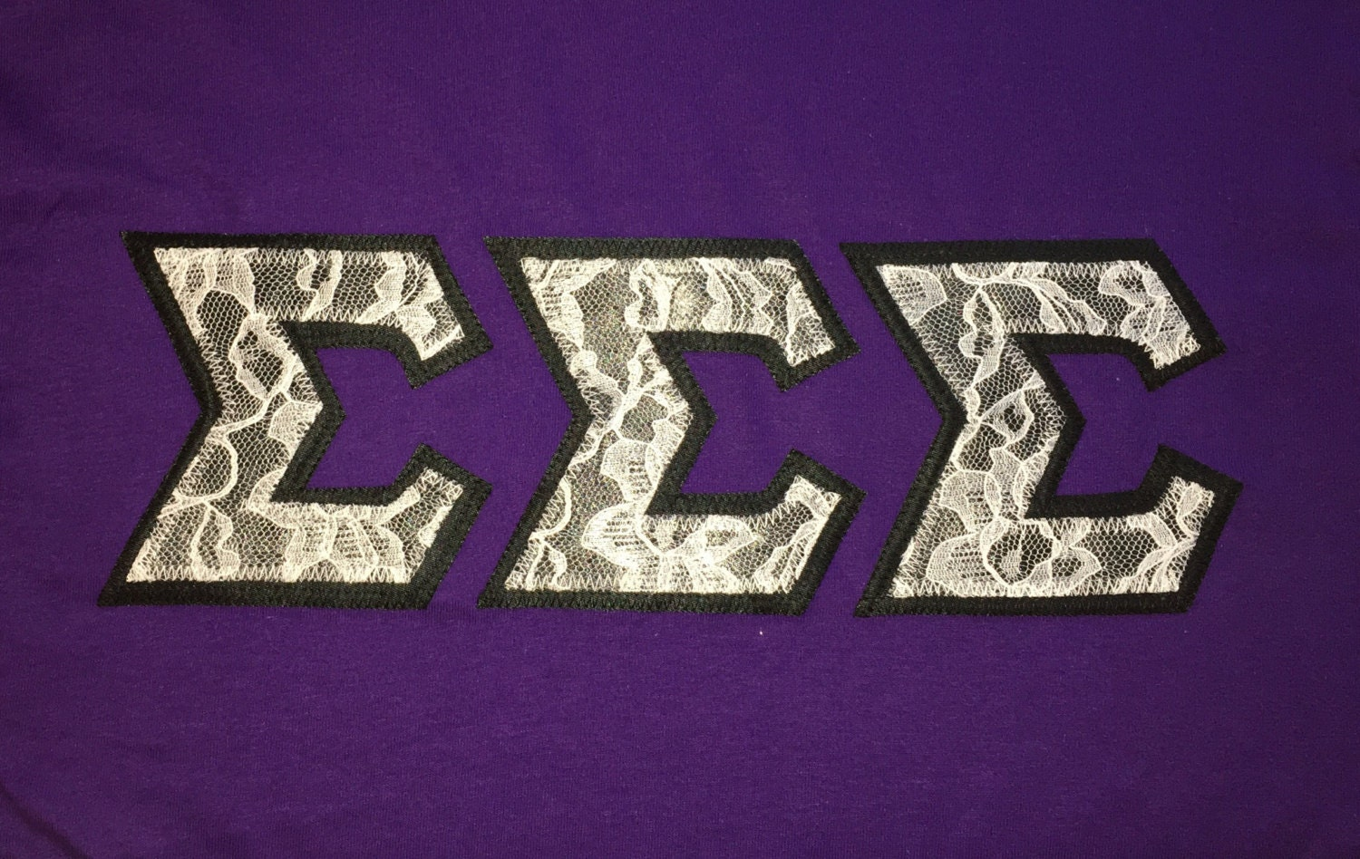 White Lace Black Background MADE TO ORDER Greek Letters