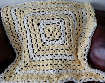 Baby Blanket Yellow Crochet - Infant Blanket, Stroller Blanket, Minky Blanket, Baby Girl Blanket, Baby Shower Gift, Crochet Blanket
