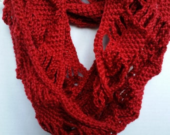 Chunky Scarf - Infinity Cowl Scarf, Crochet Red Scarf, Infinity Scarf, Handmade Scarf, Knit Infinity Scarf
