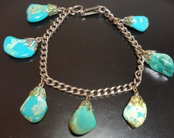 FREE SHIPPING  Indian Turquoise  Silver Bracelet