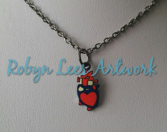 Small Red Enamel Anatomical Human Heart Charm Necklace on Gunmetal Black Crossed Chain, Anatomy