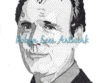 Anthony Stewart Head Art Print, Stippling Dots In Ink Artwork Actor as Giles from Buffy Inspired