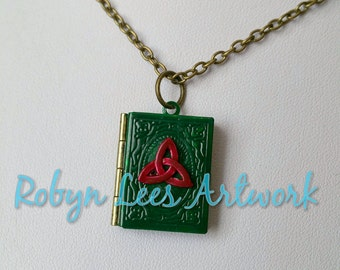 Green & Red Book of Shadows Locket Necklace on Bronze Crossed Chain with Crimson Triquetra. Wiccan, Family, Memories, Magic