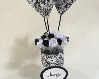 Paper flowers, first anniversary gift, black and white with I love you message