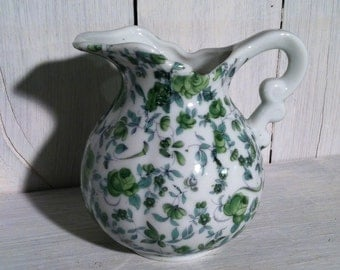 Vintage Chintz Small Pitcher/Creamer; Green Floral