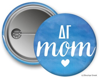 DG Delta Gamma Watercolor Mom Greek Button