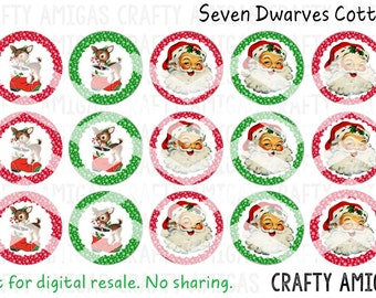 Vintage Christmas, Vintage Santa, reindeer 4x6 one 1 inch bottle cap image, bci, digital collage sheet, instant download, cupcake toppers