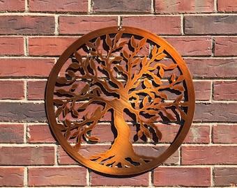 """Tree of Life, Summer Wreaths,Tree of Life w/ birds - 24"""",Metal Wall Art,Tree Art, Garden Art, Front Door Wreaths, Mother's Day gift"""
