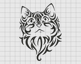 Cat Kitten Feline 2 Tribal Embroidery Design in 3x3 4x4 5x5 and 6x6 Sizes