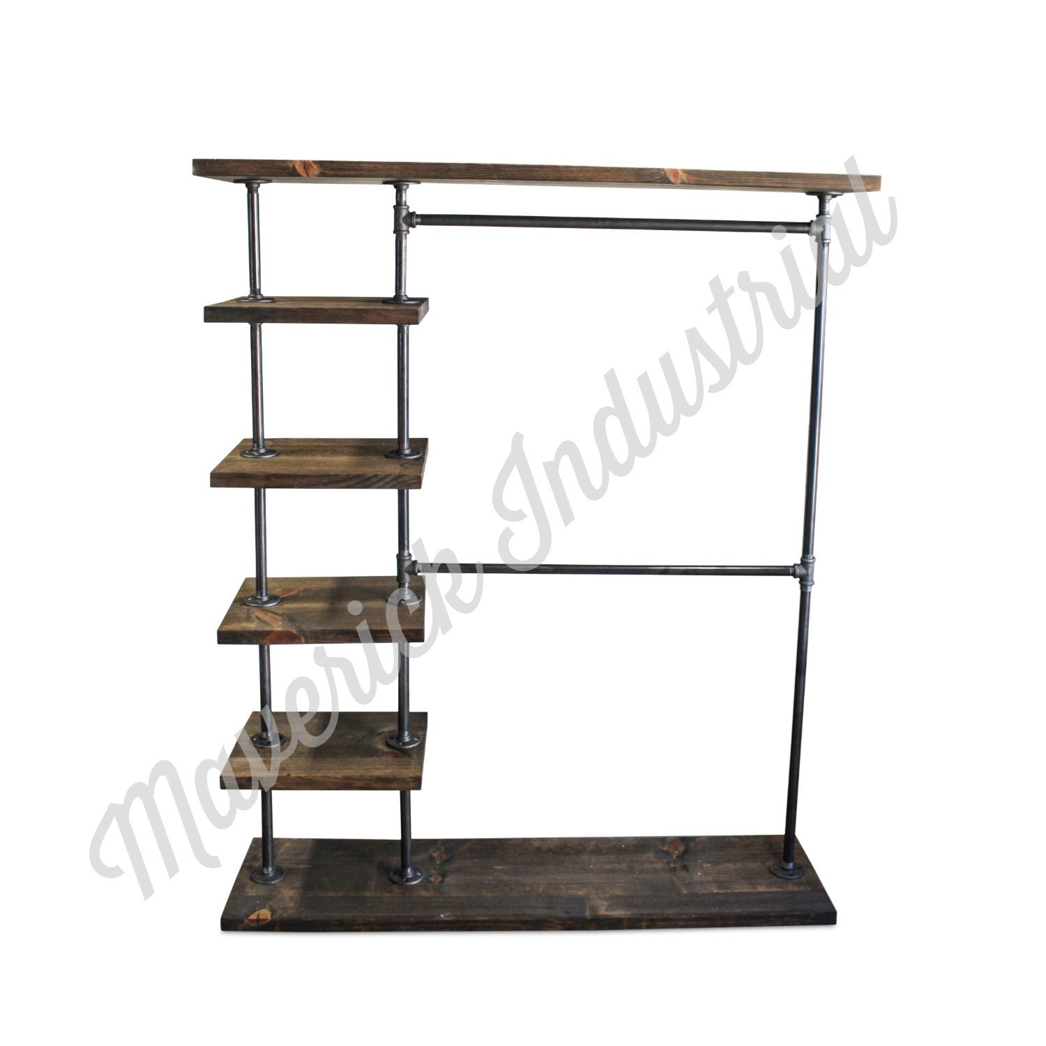 Industrial Double Bar Clothing Rack Entry Way Rack Hall