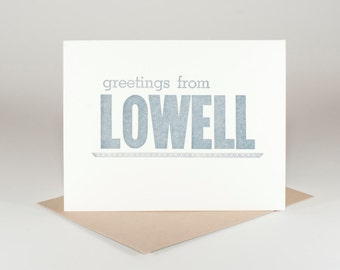 greetings from lowell letterpress card