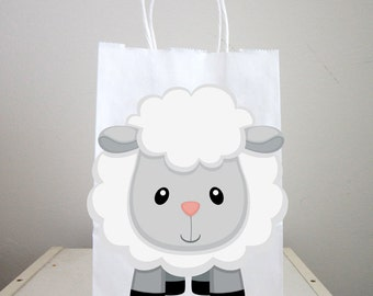 Sheep Goody Bags, Sheep Favor Bags, Sheep Gift Bags, Farm Goody Bags, Farm Animal Goody Bags - Farm Birthday Party
