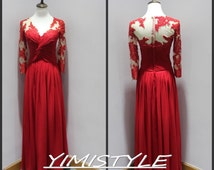 long sleeve prom dresses, sleeved prom dresses, red chiffon prom dress, long sleeve prom dresses plus size , sexy red prom dresses