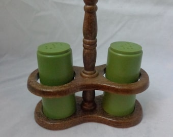 Vintage Green Salt and Pepper Shakers Retro -Wood