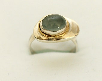 Silver ring with 14k gold studded with Aquamarine