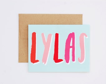 LYLAS A2 Greeting Card // Love You Like a Sister Hand Lettered Card