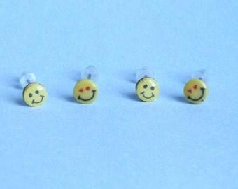 Smilies Stud Earrings,Tiny Smilie Studs,Multiple piercings studs