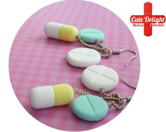 Turquoise & Yellow Pills Earrings, Pill Earrings, Custom pills earrings, green pills accessories, cute pills earrings, pills jewelry, pills