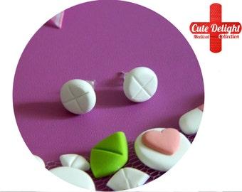 White Pills Earrings, Pill Earrings, Custom pills earrings, white pills accessories, cute pills earrings, pills jewelry, pill jewelry, pills