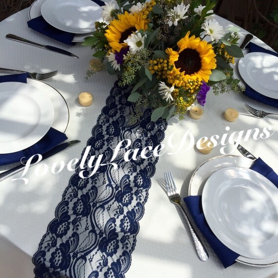 10ft navy blue lace table runner 10ft long x 7in wide dark for 10 foot table runner