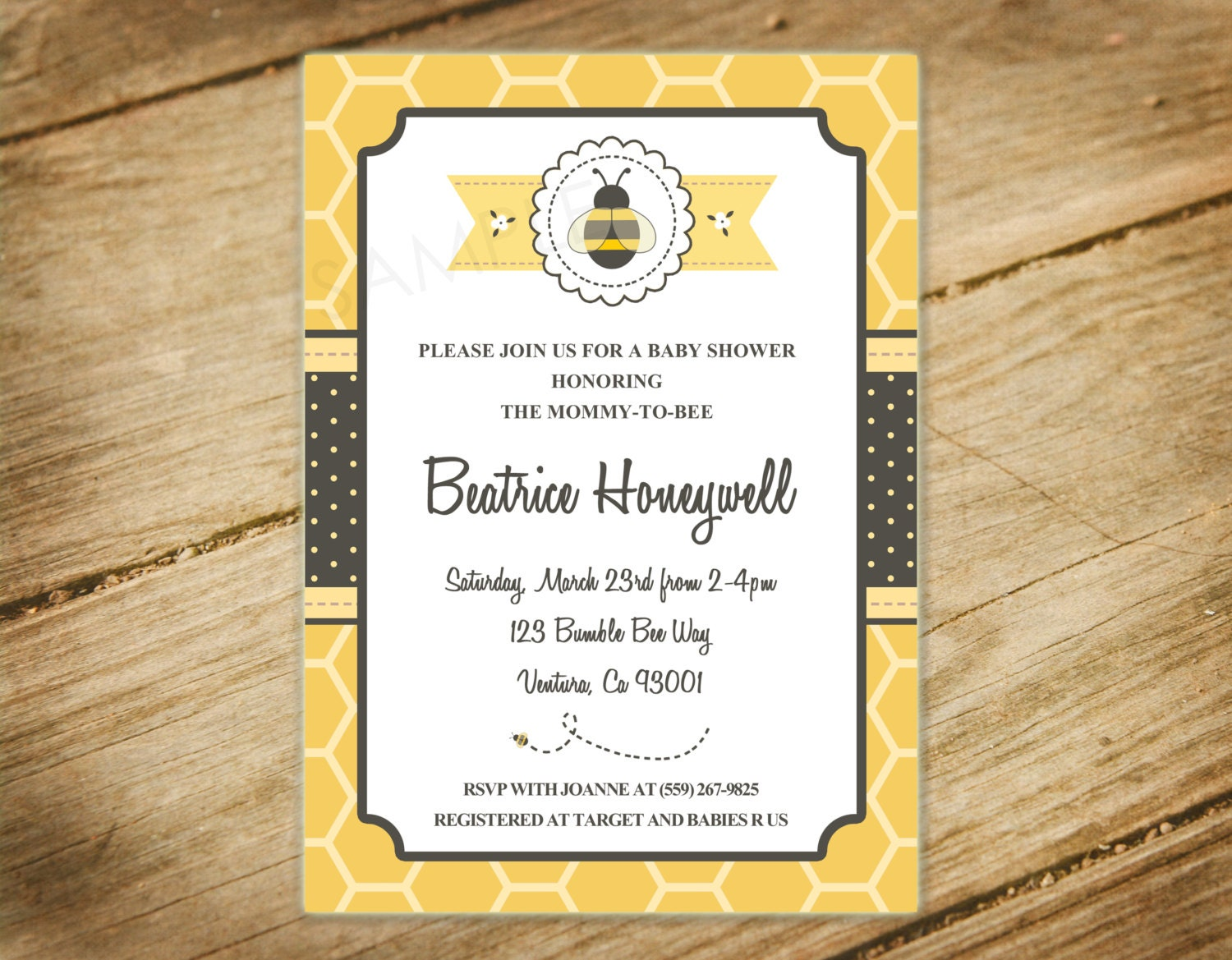bee themed baby shower mommy to bee invitation