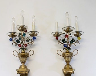 Vintage Hollywood Regency Italian Pair of Wall Sconces with Glass Flowers
