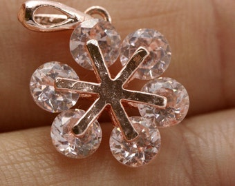flower shape with rhine stones finding 1 pc rose gold plated brass charm pendant  20 x 14 mm 864RG