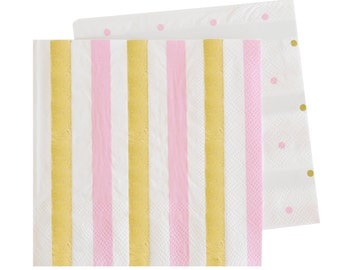 Paper Napkins Pink Gold Napkins with Stripes Polka Dots, Polka Dot Napkins Pink Dessert Napkins Gold foil Napkins Wedding Napkins Tableware