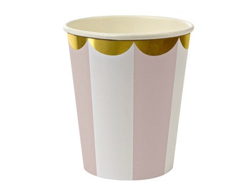 Light Pink Paper Cups Party Cups Gold and Pink Princess Party Cups Pink Striped Cups Punch Cups Meri Meri Beverage Cups Gold Foil Paper cups