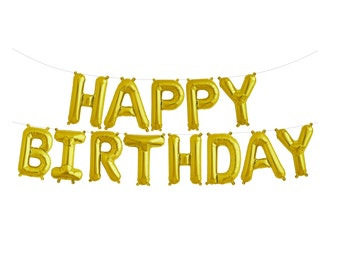 Happy Birthday Banner Gold Happy Birthday Garland Gold Balloons Gold Birthday Balloons Letter Balloons Air Fill Gold Happy Birthday Kit