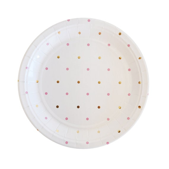 gold pink plates polka dot paper plates gold plates disposable. Black Bedroom Furniture Sets. Home Design Ideas