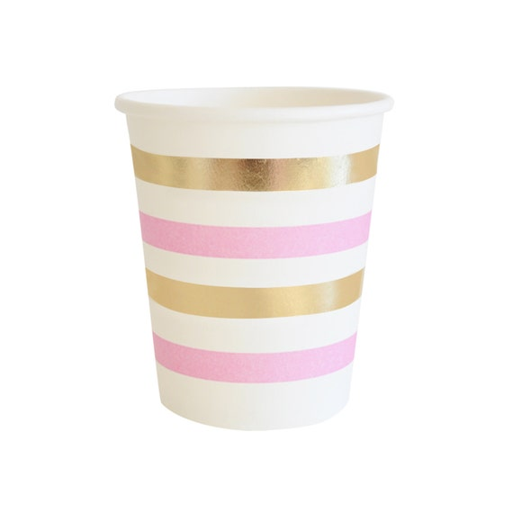 paper cups pink gold party cups striped gold foil cup pink. Black Bedroom Furniture Sets. Home Design Ideas