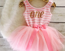 First Birthday Outfit Girl, Tutu Dress, Gold First Birthday Outfit, First Birthday Outfit Girl, Girls First Birthday Outfit