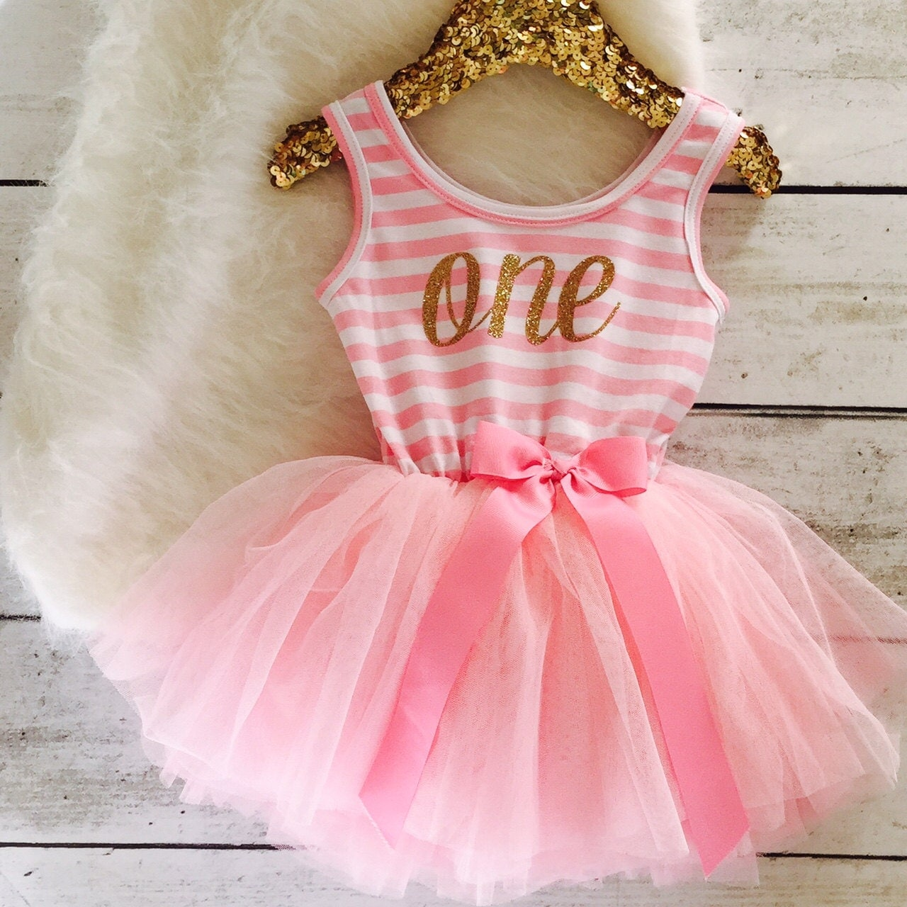 Birthday Party Outfit: Pink And Gold First Birthday Outfit Tutu Dress Gold By