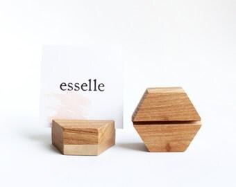 Beech Wood Place Card Holder- Hexagon