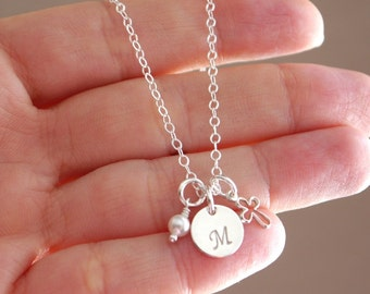 Baptism Gifts Girls, Sterling Silver Cross Necklace, Initial Cross Pearl Necklace, Personalized Cross Necklace, First Communion Gifts Girls