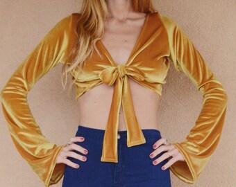Velvet Tie Top with Bell Sleeves
