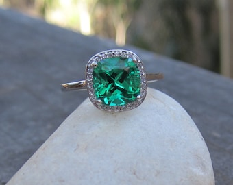 Chatham Emerald and Diamond Ring| 8x8mm Antique Square Emerald| 14K White Gold| May Birthstone