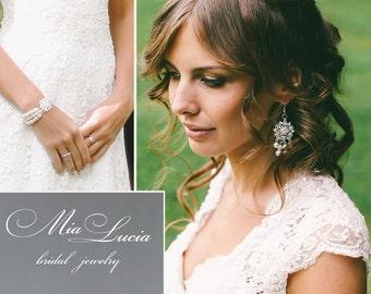 Bridal Jewelry Set, Wedding Earrings Bracelet Set, Bridal Pearl Wedding Jewelry set for bride, Pearl Rhinestone bracelet,  art. e06-b15