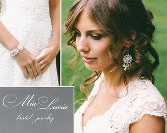 Bridal Jewelry Set, Swarovski Pearl Bridal Jewelry Set, Pearl Earrings Bracelet Set,  art. 205 Serenita