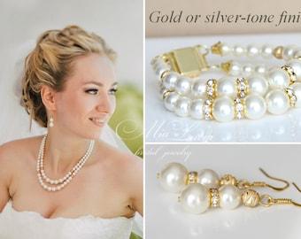Gold Bridal Jewelry set, Wedding Necklace set, Bridal Necklace set, Wedding set gold Ivory Pearl Bridal Set, Bridal jewelry art. e12-b03-n03