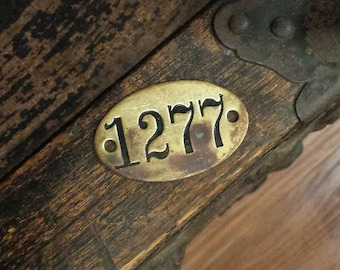 Brass Number Tag Embossed Vintage Locker Steampunk- Great Character!