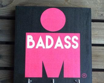 Race Medal Holder - Ironman Triathlon - BADASS Hot Pink & Black