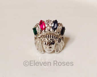 Extra Large XL 925 Sterling Silver Indian Chief Head Statement Ring Red Blue Green White Black Feather Stones