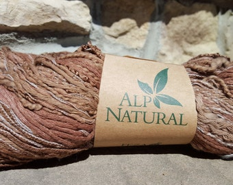 FEZA ALP NATURAL Yarn - Luxury, hand tied, cotton, Linen & Silk Yarn - #706 Chocolate