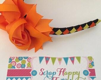 ON SALE Orange, Black, and Yellow Halloween 3-in-1 bow headband