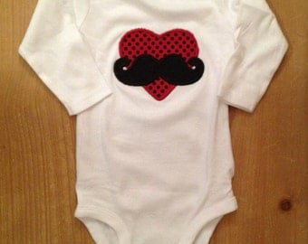 Mustache Love Valentine's Day Heart Embroidered Shirt or Baby Bodysuit