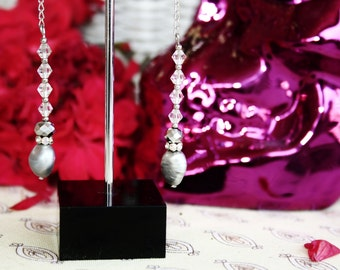 Boho Spanish Mexican Freshwater Pearl and Crystal Drop Bridal Earrings