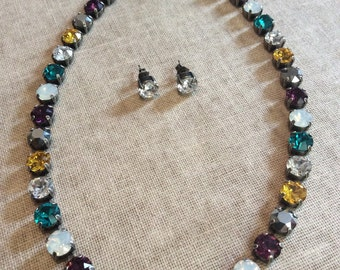 Swarovski crystal necklace choker - purple yellow and teal
